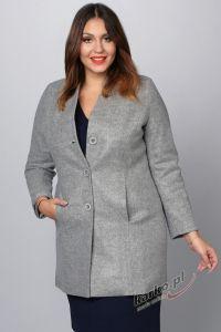 Płaszcz  flauszowy zimowy elegancki stójka szary