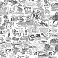 norwall wallcoverings bk32083 fresh kitchens 5 newspaper wallpaper black