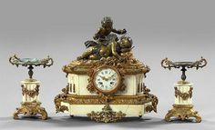 Napoleon III Marble Mantel Garniture