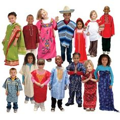 Dramatic Play Multi-Ethnic Costumes include mexican, russian, asian, african, native american dress up costumes