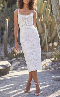 Guipure Lace Midi Dress by MONIQUE LHUILLIER for Preorder on Moda Operandi