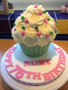Cute Rose Giant Cupcake - CakesDecor