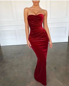c1ea48091a5 Strapless Red Velvet Long Mermaid Sexy Prom Dresses
