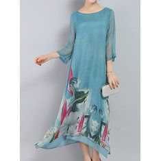 Women Ethnic Printed Half Sleeve Vintage Maxi Dresses Shopping Online - NewChic Mobile