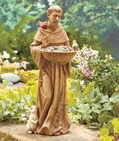Saint St Francis Of Assisi Ceramic Bird Animal Feeder Garden Figure Yard  Statue