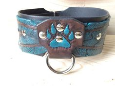 Leather Dog Collar/Hand Tooled/ Feather and Bear Claw, Amish Leather Gone Wild Pet Products
