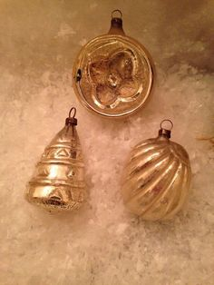 3 Antique Special Embossed Mercury Glass Feather Tree Xmas Ornaments Germany