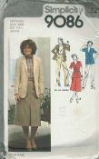 An original ca. 1979 Simplicity Pattern 9086.  Skirt or pants have front tucks and optional buttoned flap.  Top-stitched skirt has front pleat, back zipper and waistband.  Pants have fly front zipper and buttoned waistband, side pockets and cuffs.  Jacket with front button closing has set-in sleeves and notched collar.  V. 1 and 2 have long sleeves with button trim, welt and pleated pockets with flaps.  V. 3 and 4 have short sleeves and patch pocket.