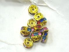 12  Gold Metal Crystal 8mm Glass Beads  by DragonsTreasureTrove, $2.50