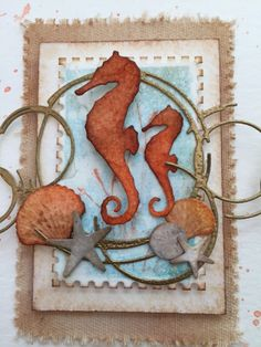 Card by Donna Sledzik  (052415)  [(dies)  Memory Box  Open Studio Rectangle Layers, Postage Set, Seaside Treasures, Sketchy Rings, Swimming Seahorses; (stamps)  Poppystamps  Into the Words;  (stencils)  Memory Box  Postage Set]