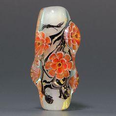 Gorgeous - Ikuyoglassart Handmade Lampwork gold leaves Flower Murrini Focal Bead sra