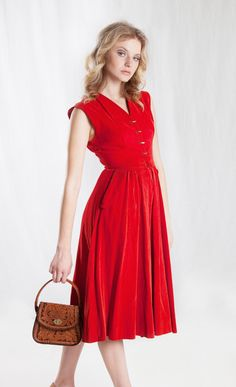 1950's Red Corduroy Dress by govintagego on Etsy