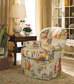 love the colorful chinoiserie fabric