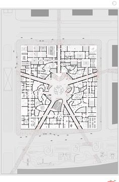 Floor Plan on Site Plan / National Art Museum of China competition entry / OMA Oma Architecture, Architecture Drawings, Architecture Diagrams, Architecture Portfolio, Architecture Details, Museum Plan, National Art Museum, Plan Drawing, Kunst Poster