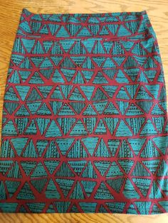 cf7f6dbd4ce LulaRoe Size 3X Plus Size Geometric Cassie Skirt Teal Red Pencil Skirt XXXL