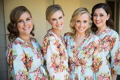 Light Blue Bridesmaids Robes, Kimono Crossover Robes, Spa Wraps, Bridesmaids gift, getting ready robes, Bridal shower party favors, Floral