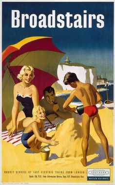 Box Canvas Print (other products available) - Poster produced by British Railways (BR) to promote train services to Broadstairs in Kent. Artwork by an unknown artist. <br> - Image supplied by National Railway Museum - inch Box Canvas Print made in the UK Posters Uk, Beach Posters, Railway Posters, British Travel, British Seaside, British Isles, Vintage Advertisements, Vintage Ads, National Railway Museum