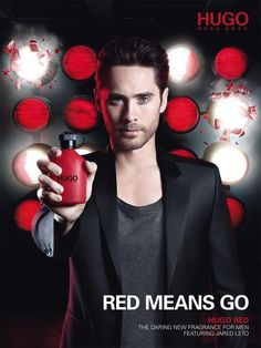 HUGO Red-Actor and 30 Seconds to Mars frontman Jared Leto stars in his second Hugo Boss fragrance campaign. Fronting Hugo Boss' new fragrance HUGO Red… Perfume Hugo Boss, Jared Leto, Red Campaign, Red Perfume, Perfume Bottles, Fragrance Samples, Just Jared, Men's Cologne, Movie Posters