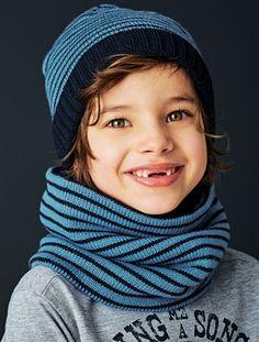 Bonnet + snood + moufles ou gants - Bleu encre raye - 2 4d56c0e5d71