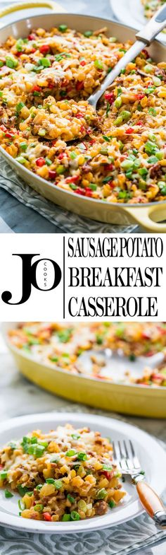 This Sausage Potato Breakfast Casserole is loaded with sausage, lots of veggies, eggs and hash browns. Super easy to make and always a crowd pleaser, perfect for breakfast or brunch.