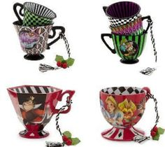 Disney Alice in Wonderland Tea Cup Ornament Set