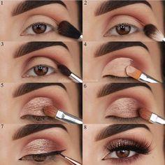 @YasiAmo   #Ögonmakeup #SimpleEyeliner Eyeshadow Step By Step, Makeup Tutorial Step By Step, How To Apply Eyeshadow, Eyeshadow Makeup, Makeup Brushes, Eyeshadow Ideas, Drugstore Makeup, Eyebrow Makeup, Simple Eyeshadow