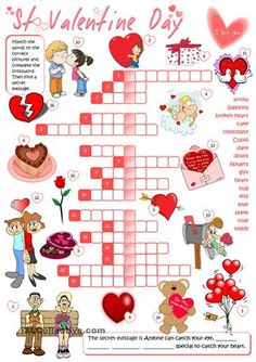 A crossword on St Valentine vocabulary Happy Valentine - ESL worksheets Valentines Word Search, Valentine Words, Saint Valentine, Valentines Day Activities, Fun Activities, Educational Activities, Classroom Activities, 16 Balloons, Teaching English