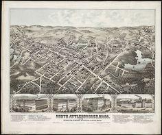 "Massachusetts North Attleborough 18/"" x 24/"" 1878 map of North Attleboro"