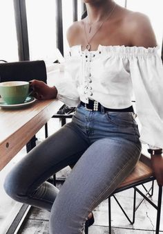 Off-shoulder white top