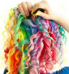 Rainbow hair, curly.