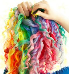 Rainbow hair, curly.