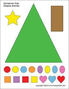 Free printable shapes sets to color, cut out and glue together into an easy paper Christmas tree. Christmas Printable Activities, Christmas Activities For Toddlers, Christmas Tree Printable, Christmas Tree Template, Homemade Christmas Cards, Christmas Tree Crafts, Colorful Christmas Tree, Christmas Program, Christmas Christmas