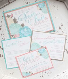 Photographer: Aida Krgin Photography; the design and color of this wedding invitation set are so pretty from Laura Damiano Designs