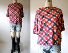 Vintage 60's plaid top 50's rockabilly hipster grunge oversized slouchy boat neck open size