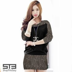 NEW ARRIVAL!  Stylish Loosen Sleeve Short Dress for only P399!, at ShopThisEasy.com