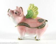 Pink Pig with Wings Jewelled Enamelled Trinket Box or Figurine   eBay