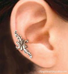 925, Double feather - solid Sterling silver ear cuff earring jewelry - non pierced earcuff  100112