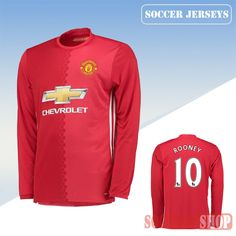 1d25d71aa37 Latest Manchester United Red 2016 2017 Home Long Sleeve Soccer Jersey With Rooney  10 Printing Replica