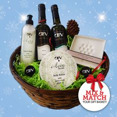 Visit your local #OLiVTastingRoom to mix & match your own unique gift basket! This one includes: a perfect pairing of Premium EVOO & Balsamic, a Tapi Spout for each bottle, a Gourmet Grape Dipping Plate, Body Butter made with OLiV EVOO & Hand Wash made with OLiV EVOO.  #oliveoil #oil #health #skincare #natural #gift #christmas #olivtastingroom #foodie #evoo #balsamic #food #skin #beauty #plate #accessory #giftidea #present