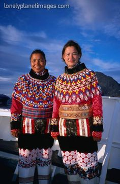 universalbeauty:  Greenland's Inuit women in national costume, embroidered tops with sealskin boots. Greenland, Scandinavia. Photographer: D...