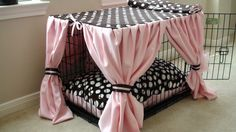 Dog crate with curtains