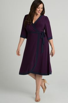 fa82d098b0 Our plus size Weekend Wrap Dress is now available in this gorgeous deep  plum. A