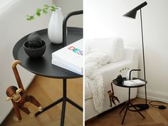 Arne Jacobsen light, Kaj Bojesen monkey and Hay table - Danish design to a tee and stunning too.