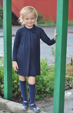 Il Gufo Navy Dress With Bow Collar.  So simple and sweet. This little girls is adorable.