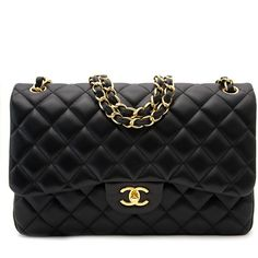 Chanel Black Lambskin Classic Double Flap Bag ($6,150) ❤ liked on Polyvore featuring bags, handbags, torbe, lambskin leather purse, lambskin leather bag, lambskin leather handbags, chanel handbags and chanel