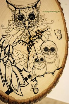 hand-drawn owl clock that I made for my boys' room