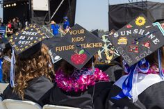 """Your kids' future teacher."" CSUSM graduation cap. Mortarboard decoration ideas | California State University San Marcos Commencement 2014"