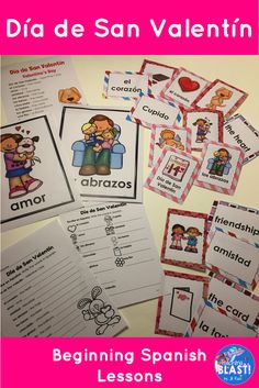 Día de San Valentín Beginning Spanish Lesson for elementary. Lesson plans, vocabulary cards, matching cards, 16-page mini-book to read and color, plus 2-page informational text about chocolate. Bilingual Spanish and English.