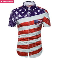 1b4614ef2b2 USA Flag Print Shirt Men Women 2018 Brand New Short Sleeve Chemise Homme  Casual Slim Fit Striped Flag Summer Mens Shirts XXXL.