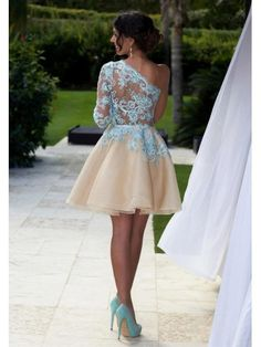 SEXY ONE SHOULDER LONG SLEEVED CHAMPAGNE SHORT HOMECOMING DRESS WITH LACE APPLIQUE